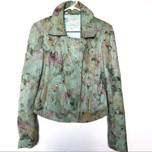 Guess Green Floral 100% Goat Leather Jacket